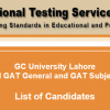 GC University Lahore NTS GAT General, Subject Test Result 2016 Answer Keys