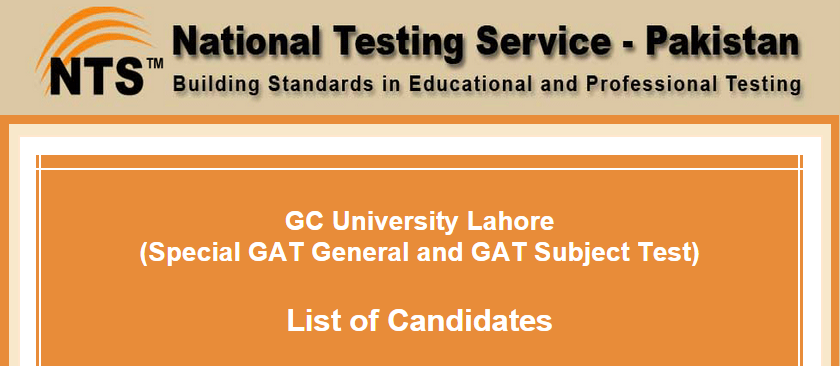 GC University Lahore NTS GAT General, Subject Test Result 2015 Answer Keys