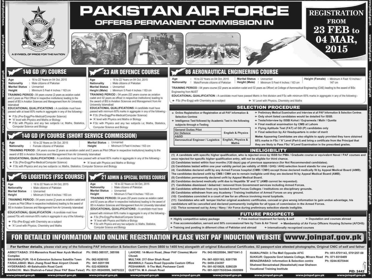 Pakistan Air Force PAF 2015 Permanent Commission 140 GDP Online ...