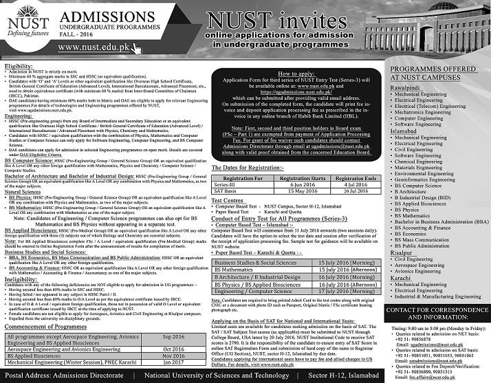 NUST University Undergraduate Admission 2016