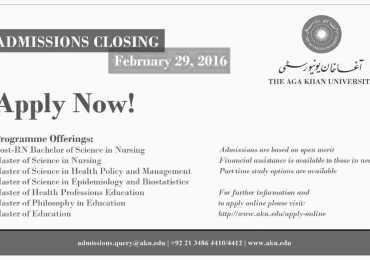Aga Khan University AKU Karachi Admissions 2018 Form, Last Date