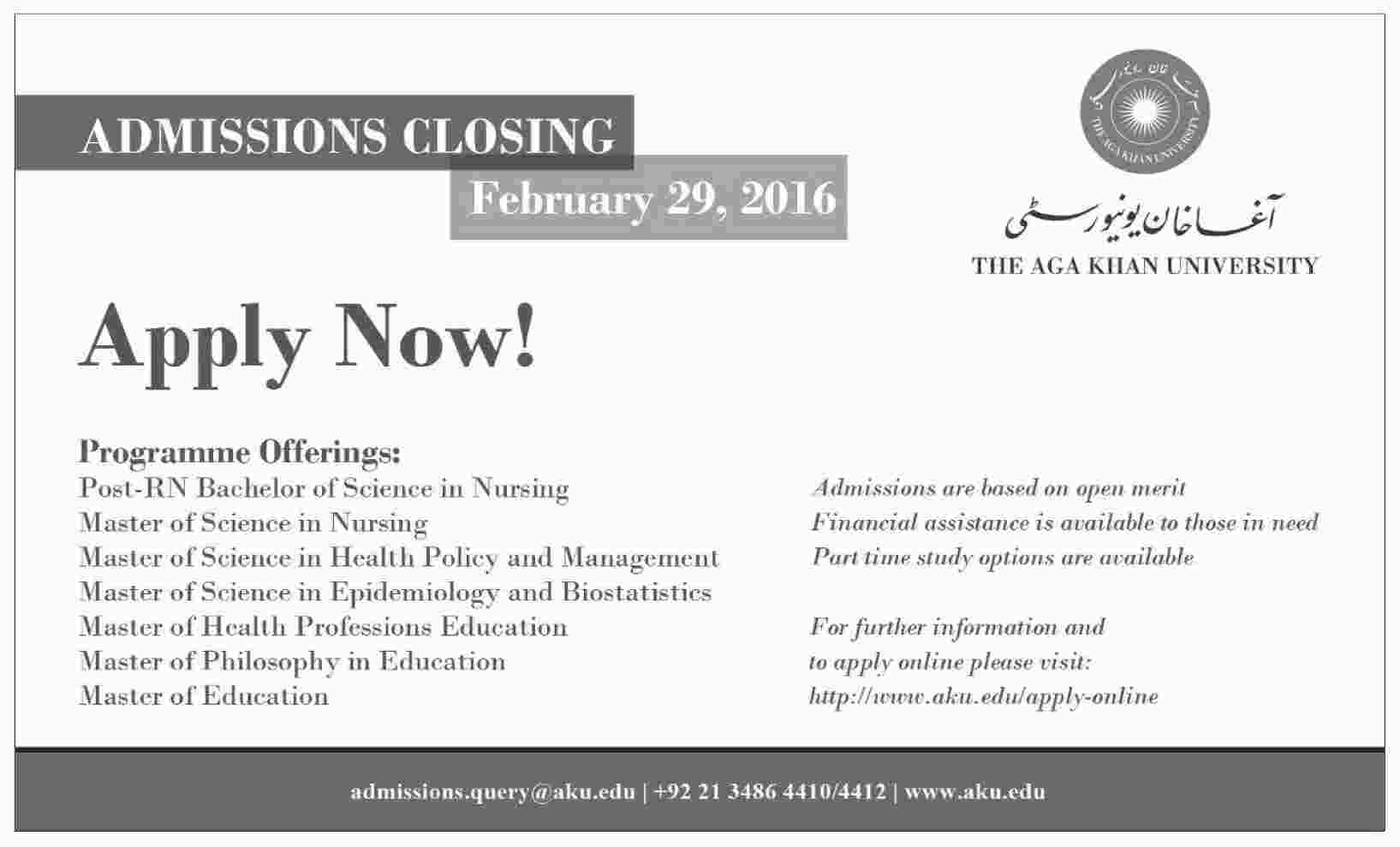 Aga Khan University Karachi AKU Admission 2019 Form, Last Date