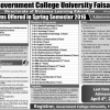GC University Faisalabad Spring Admission 2017 Form Download
