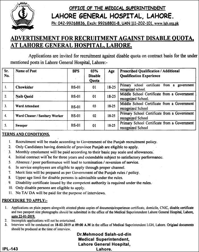 General Hospital Lahore Jobs 2019