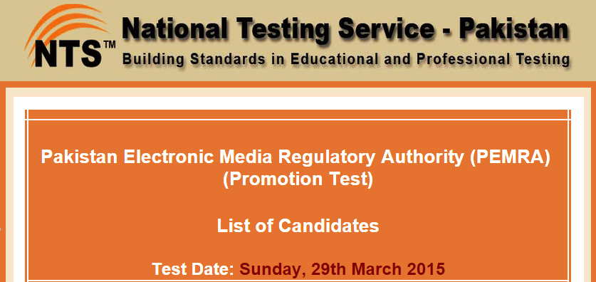 PEMRA Jobs NTS Test Result 2015 29th March Answer Keys