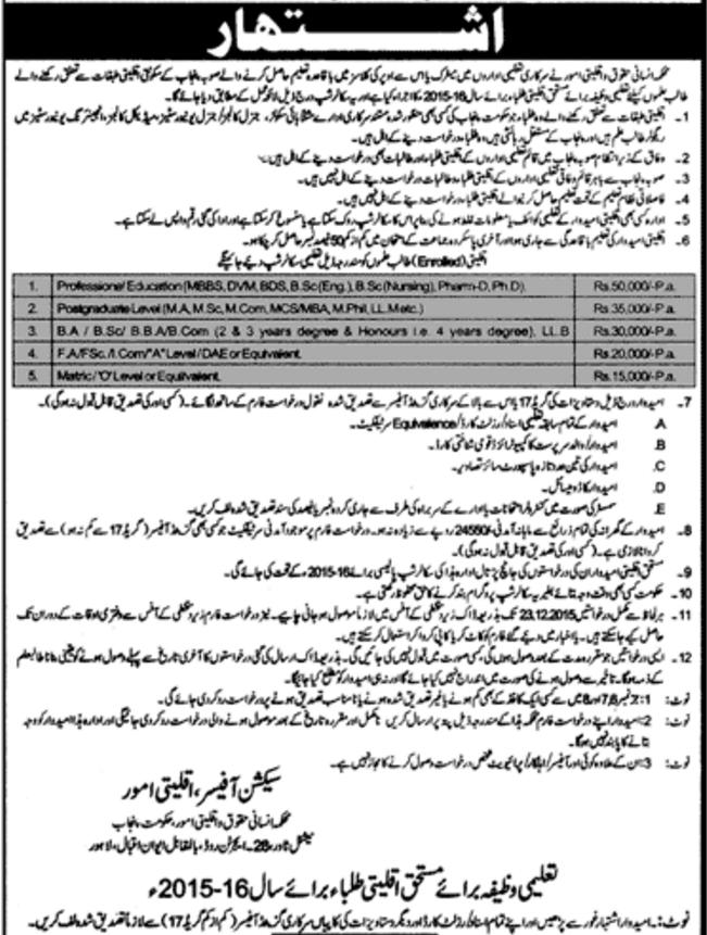 Punjab Minority Scholarship 2015-16 Form, Eligibility, Last Date