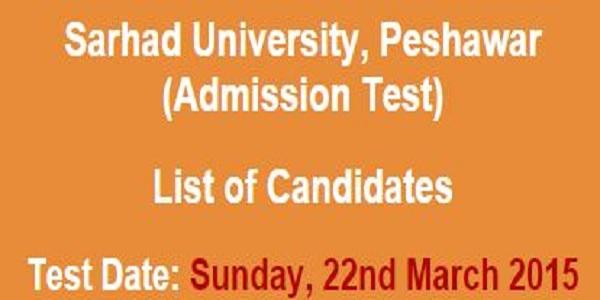Sarhad University Peshawar Admission NTS Test Result 2015 22nd March