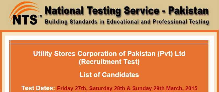 Utility Stores Jobs NTS Test Result 2015 27th, 28th, 29th March