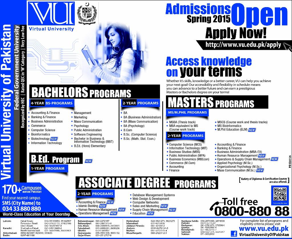 Virtual University Of Pakistan Admissions 2015 Form, Last Date