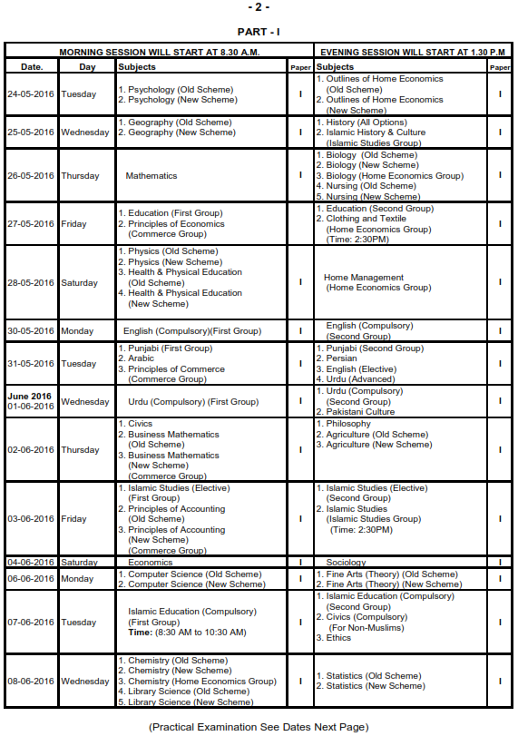 BISE Gujranwala Board Matric 10th Class Date Sheet 2016_002