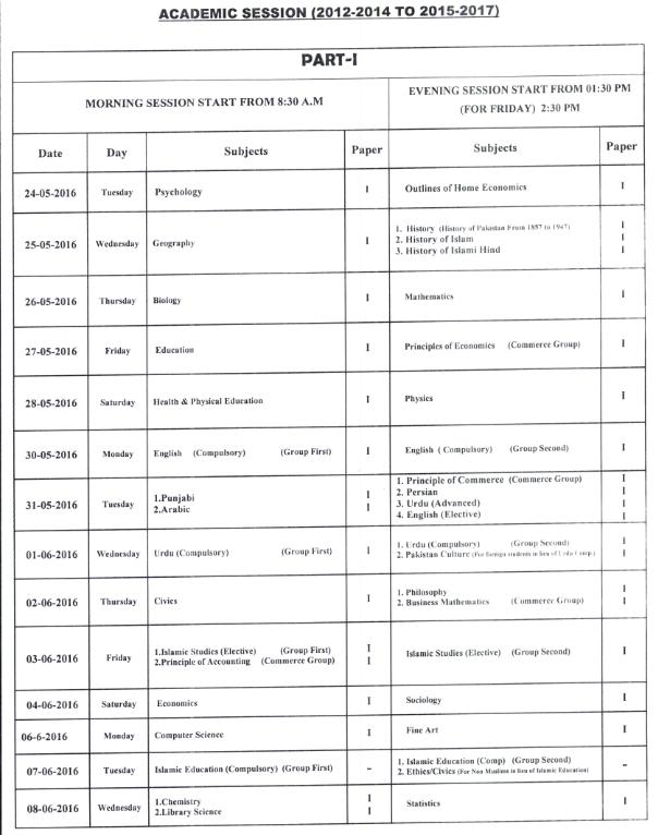 BISE Sahiwal Board Inter Part 1, 2 FA, FSc Date Sheet 2016_002