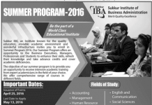 IBA Sukkur Summer Programs 2016 Admission Form Download Online