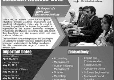 IBA Sukkur Summer Programs 2017 Admission Form Download Online