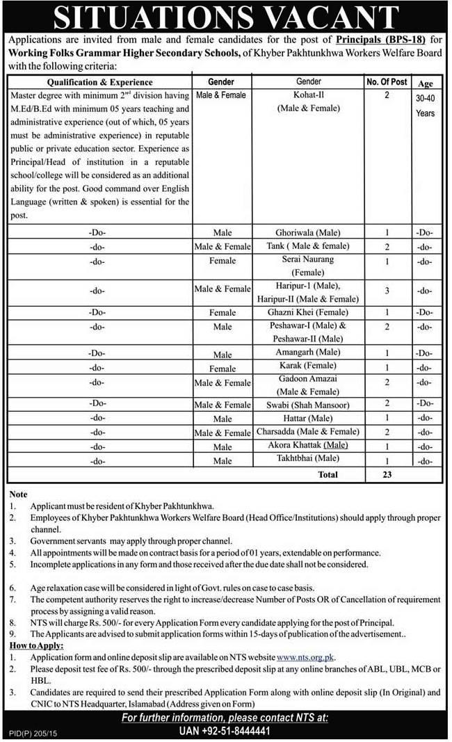 KPK Workers Welfare Board Peshawar Jobs 2015