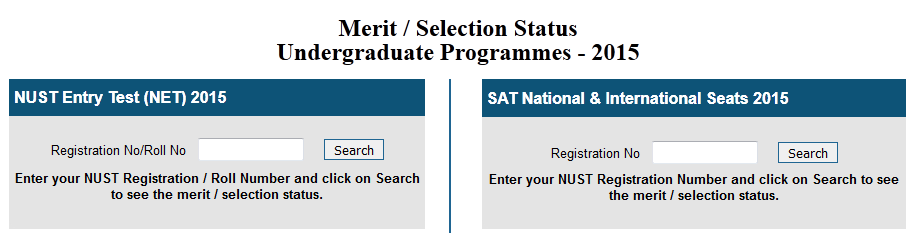 NUST Entry Test Result And Merit List 2015