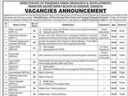 Directorate Of Fisheries Sindh Karachi Jobs 2015