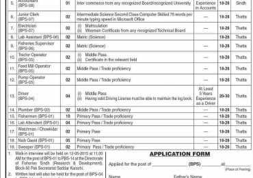 Directorate Of Fisheries Sindh Karachi Jobs 2015 Application Form Download