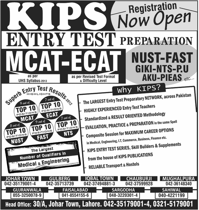 KIPS Entry Test Classes 2015 Fee Structure