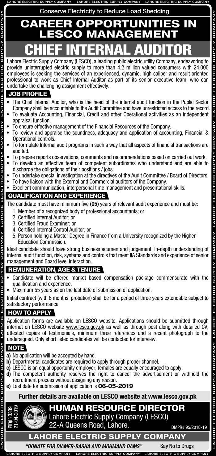 LESCO Jobs 2019 in Lahore Online Apply Form lesco.gov.pk