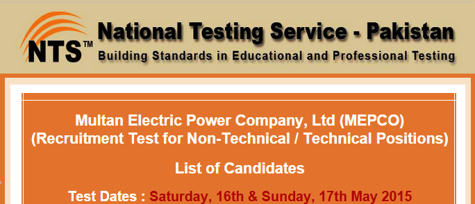 MEPCO Multan NTS Test Result 2015 Technical, Non Technical Positions