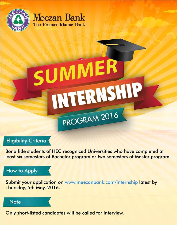 Meezan Bank Summer Internship Program 2017 Eligibility