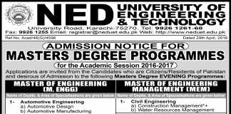 NED University Masters of Engineering Admission 2016-2017