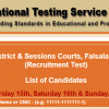 NTS Test Result 2015 District & Sessions Courts Faisalabad Steno, Operator, Clerk