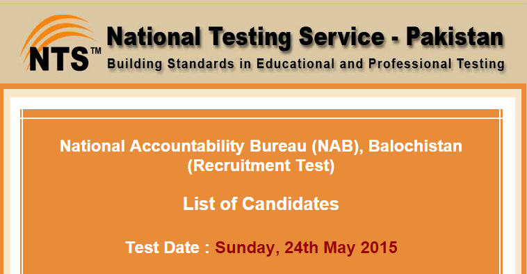 National Accountability Bureau NAB Karachi NTS Test Result 2015
