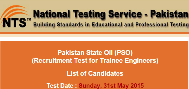 Pakistan State Oil PSO NTS Test Result 2015 Management Trainee Engineers