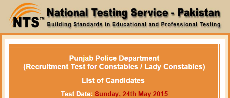 Punjab Police Constable, Lady Constable NTS Test Result 2015 24th May