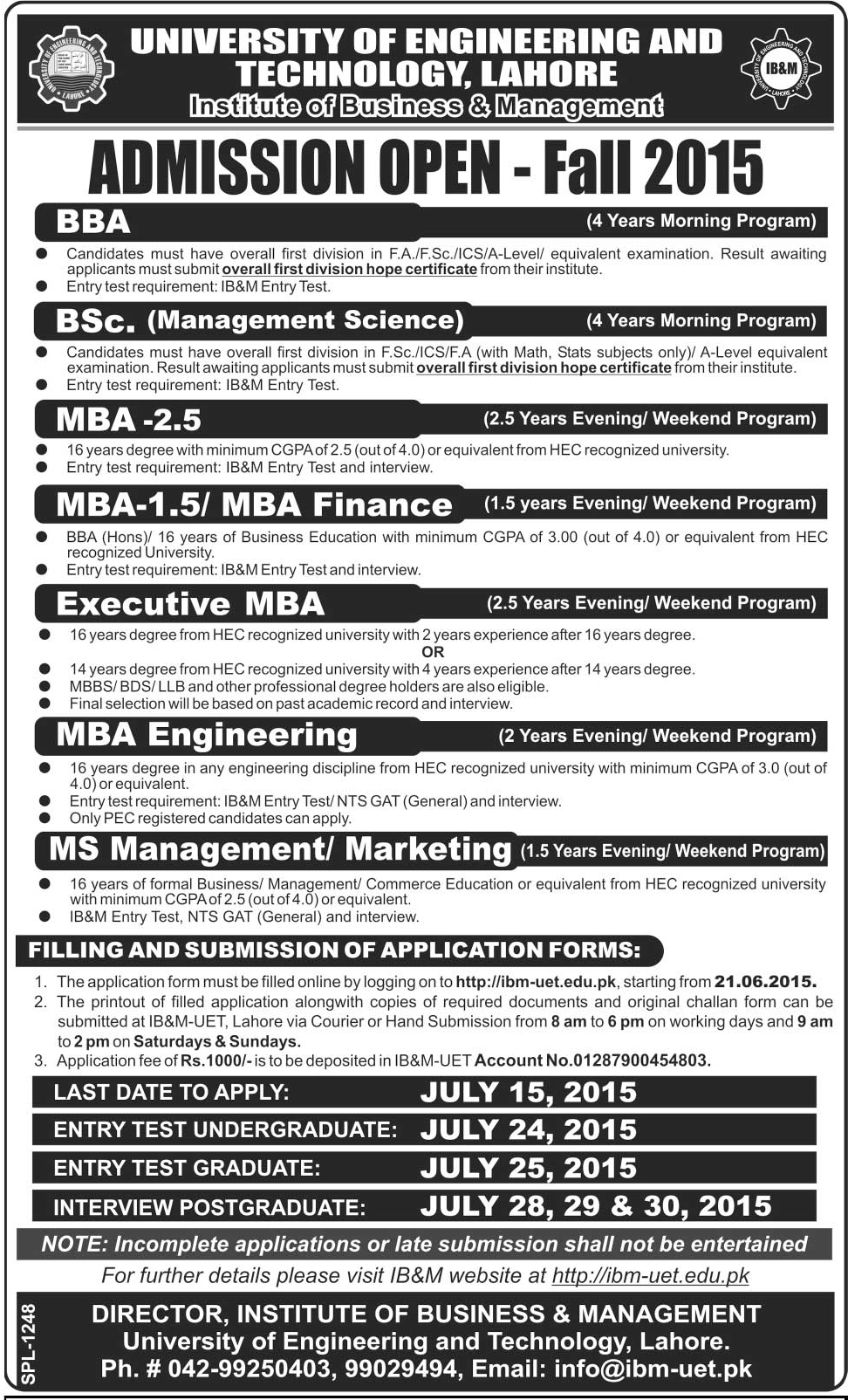 UET IBM Institute of Business & Management Lahore Admissions 2015