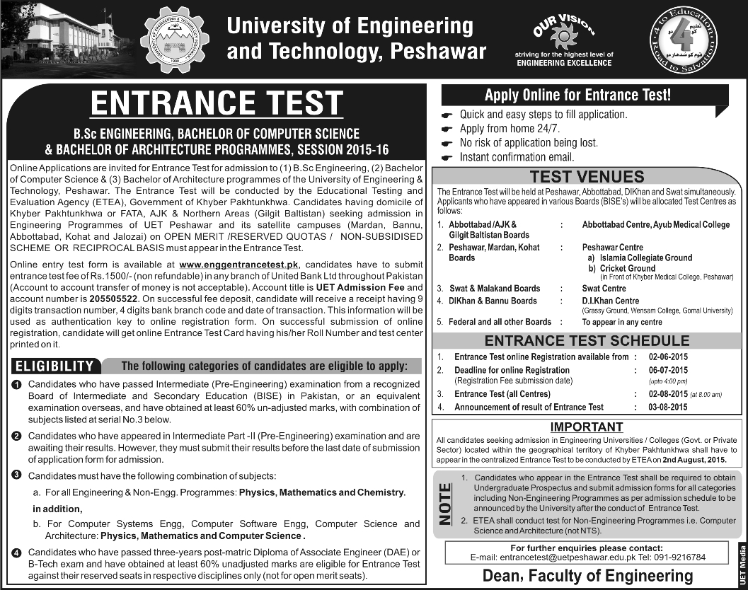 UET Peshawar Entry Test Date 2015 and Schedule