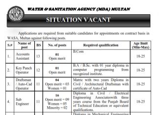 Water And Sanitation Agency MDA Multan Jobs 2016 NTS Form Sub Engineer_001