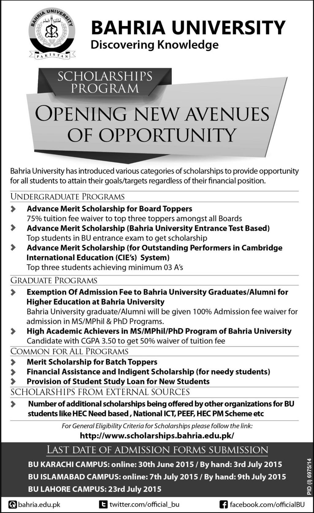 Bahria University Merit Scholarships 2015 For Karachi, Islamabad, Lahore Campus