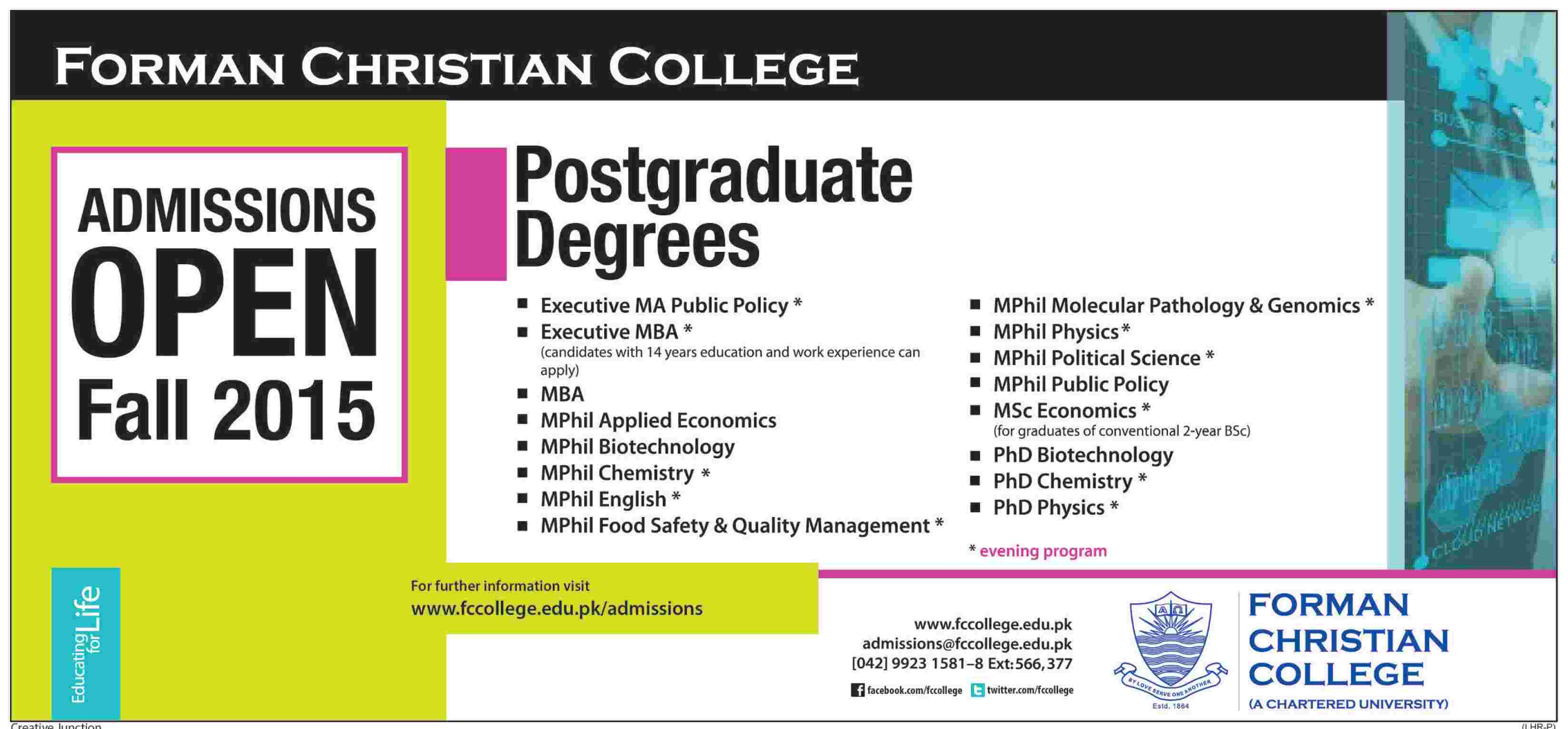Forman Christian FC College Lahore Postgraduate Admission 2015 Form, Last Date