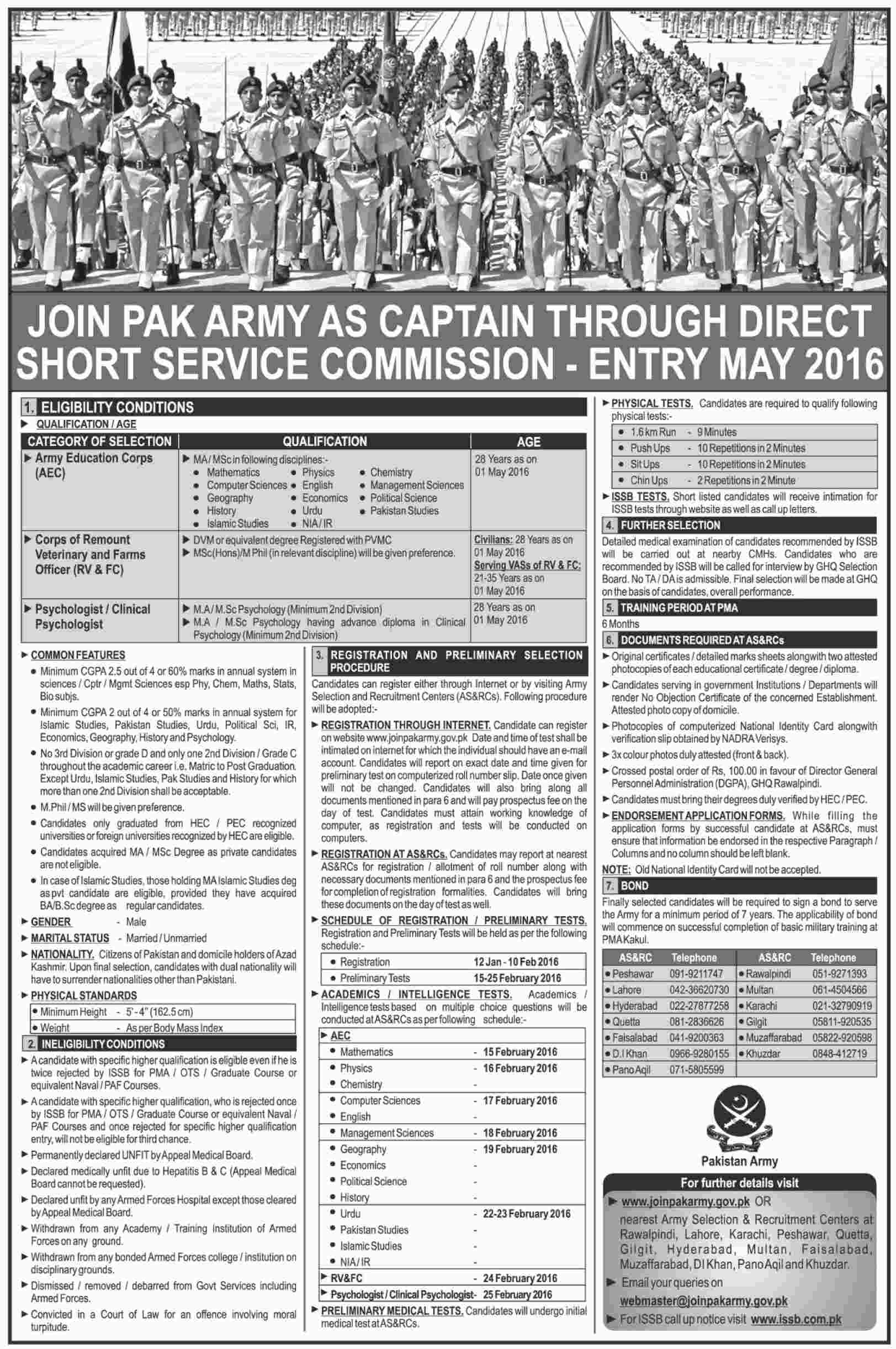 Join Pakistan Army As Captain Entry 2016 By Short Service Commission