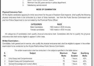 KPK PSC Assistant Sub Inspector ASI Jobs 2015 For Traffic Warden Online Registration