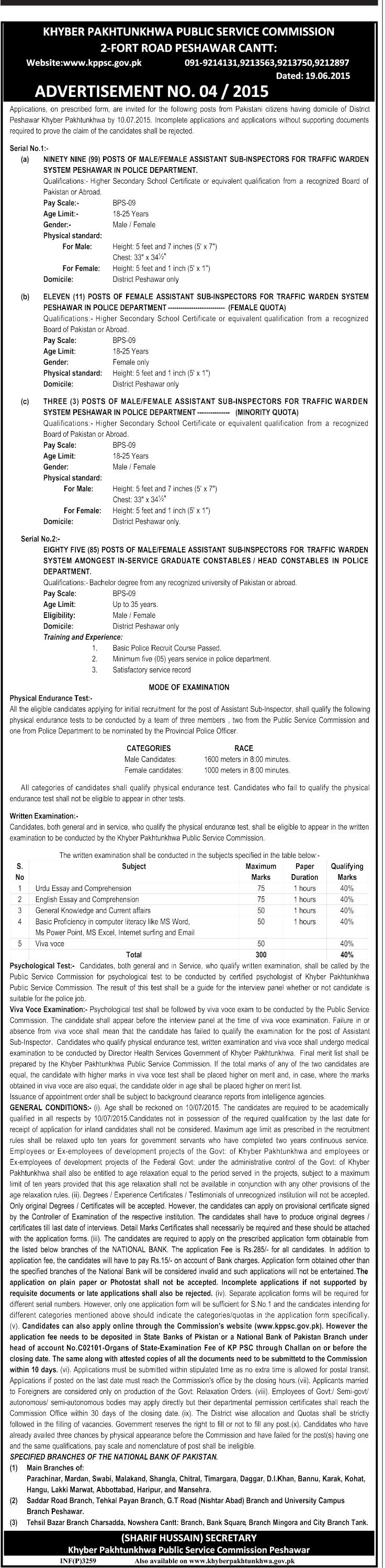 KPK PSC Assistant Sub Inspector ASI Jobs 2015 For Traffic Warden Online Registration