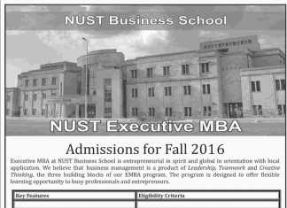 NUST Islamabad Executive MBA Admission 2016 Form Apply Online, Last Date