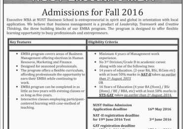 NUST Islamabad Executive MBA Admission 2017 Form Apply Online, Last Date