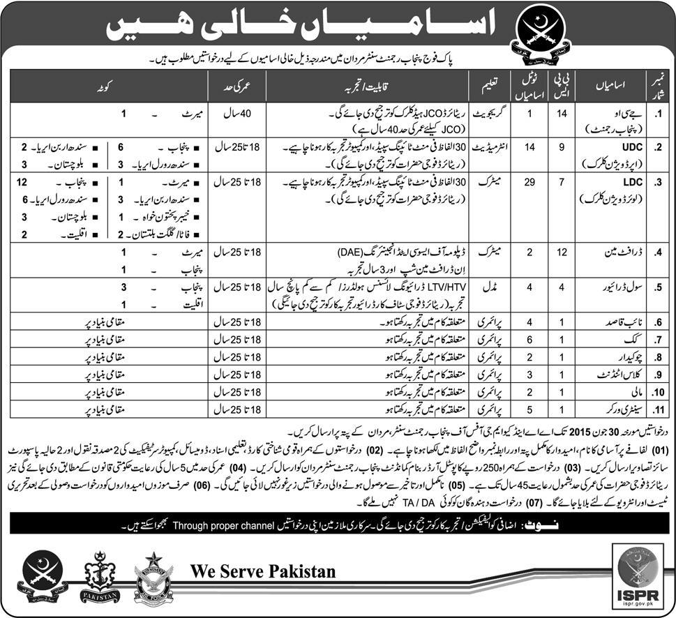 Pakistan Army Punjab Regiment Mardan Jobs 2015 Application Date