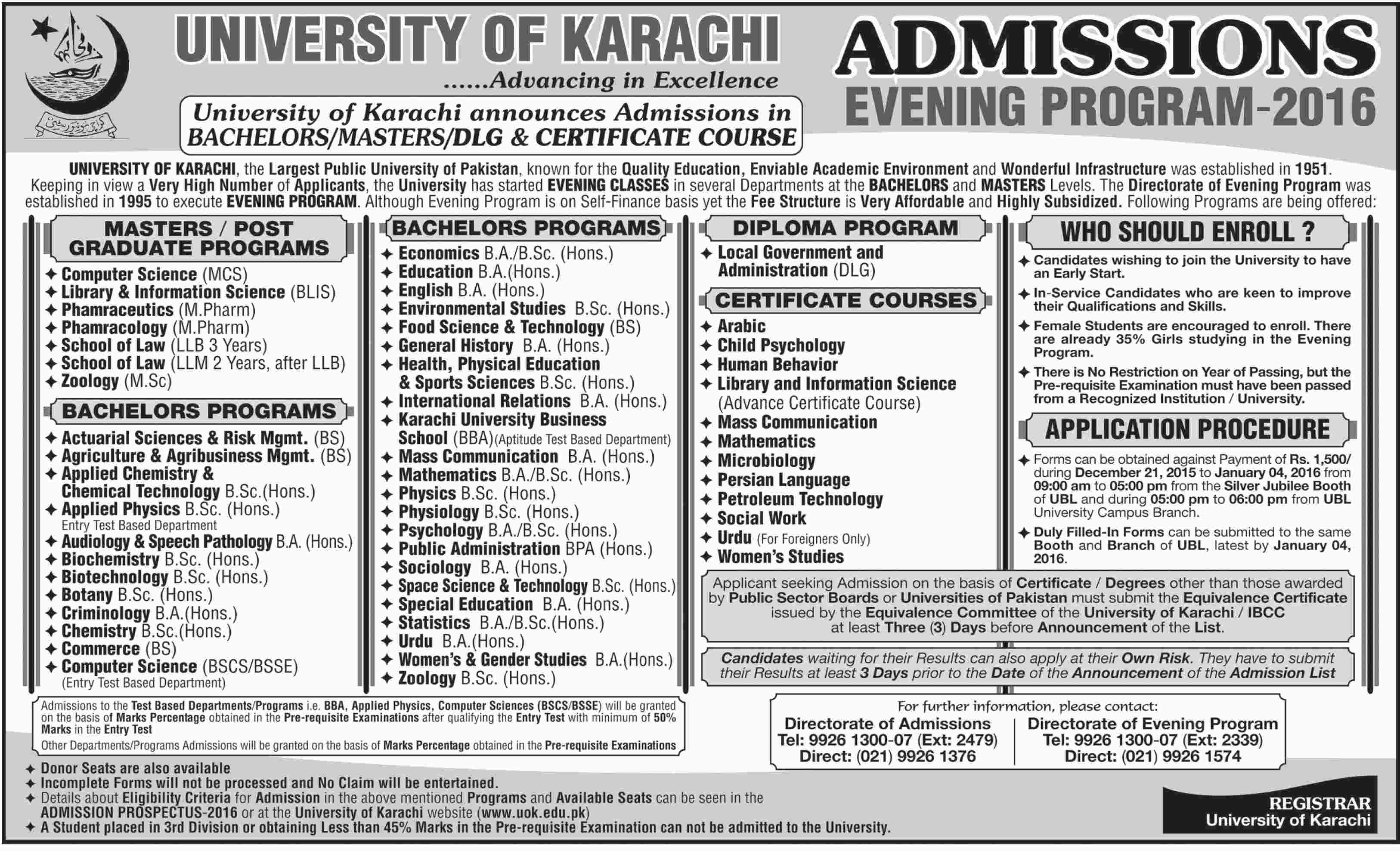 University Of Karachi UOK Evening Program Admission 2016