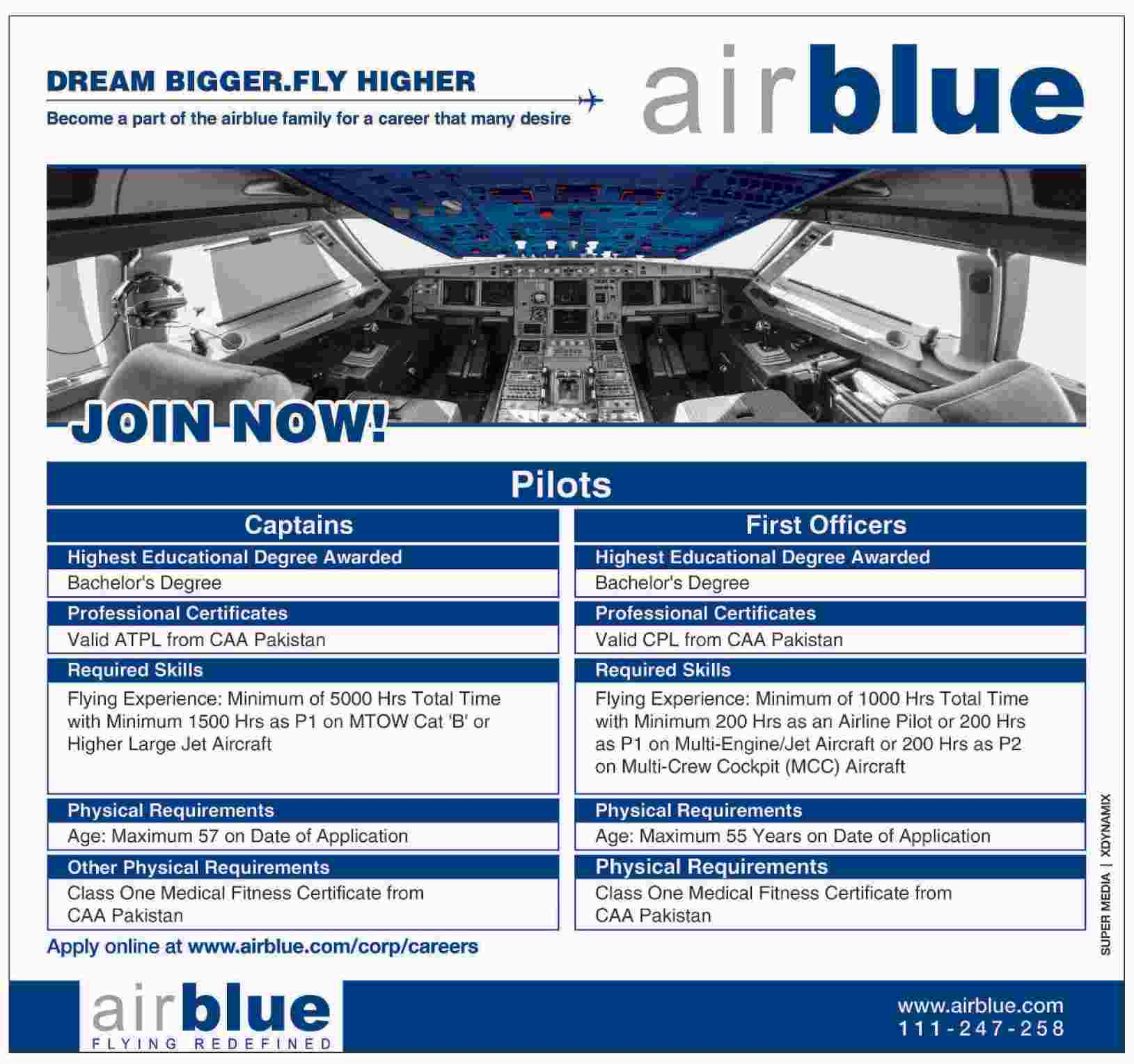 Air Blue Pilots Captain, First Officer Jobs 2015 Apply Online Eligibility