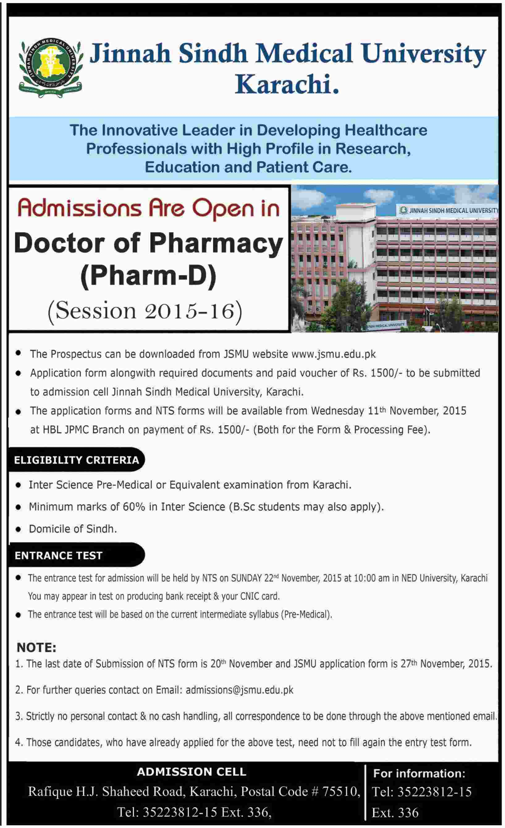 Jinnah Sindh Medical University Karachi Pharm D Admission 2015-16