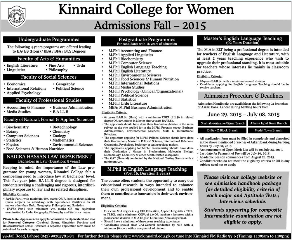 Kinnaird College For Women Lahore Admission Fall 2015