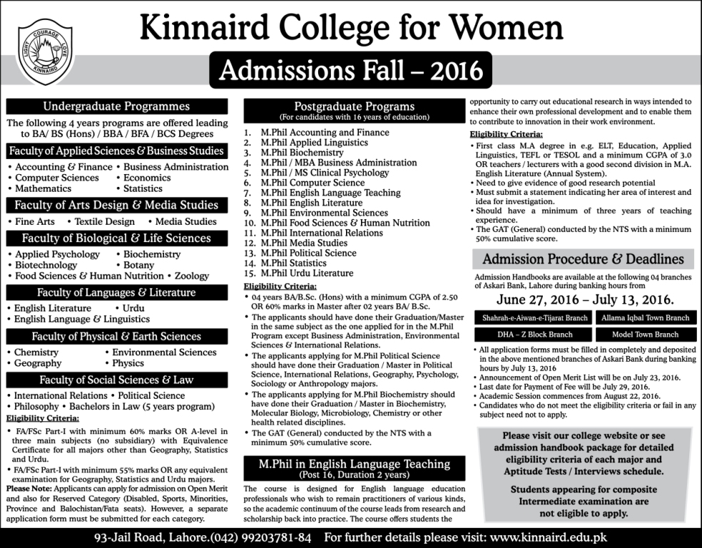 Kinnaird College For Women Lahore Admission Open Merit Lists 2016