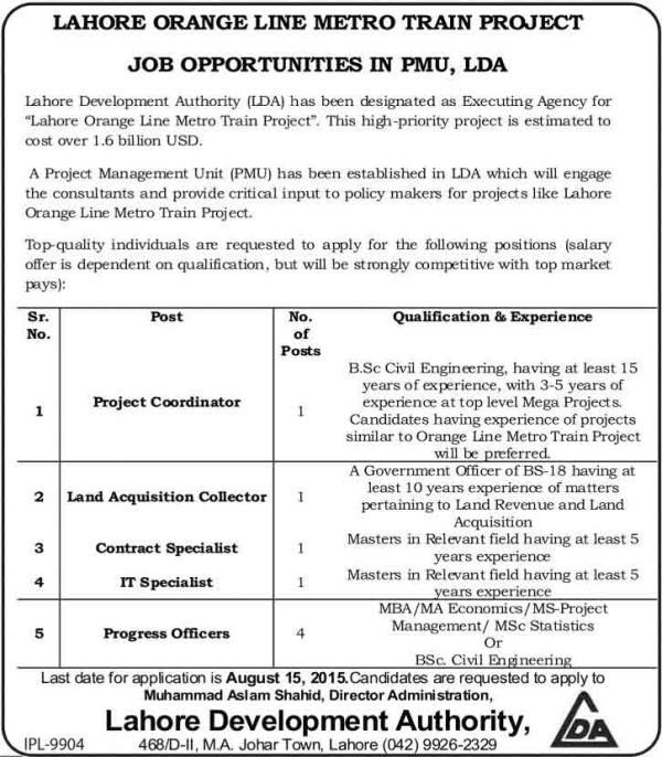 LDA Lahore Orange Line Metro Train Project Jobs 2015