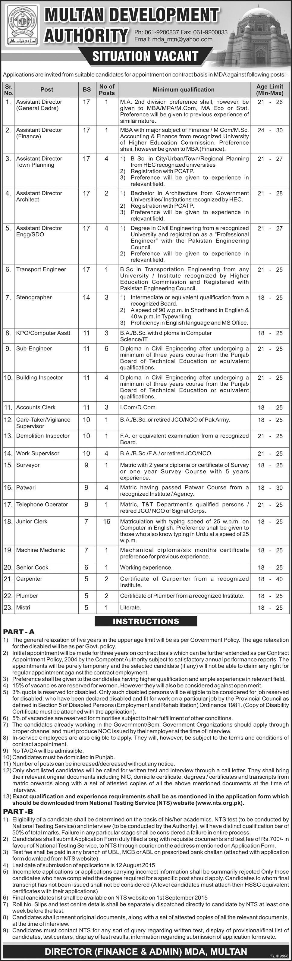 Multan Development Authority MDA Jobs 2015 NTS Form
