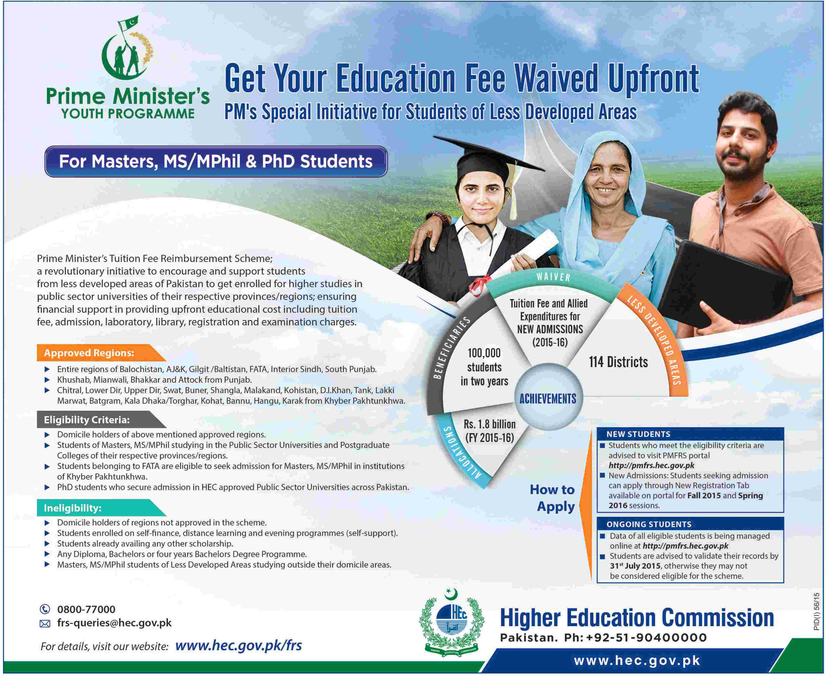 PM Fee Reimbursement Scheme 2015 For Master, MA, M.Phil, PhD Form