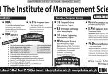 Pak Aims Institute of Management Sciences Admission 2016